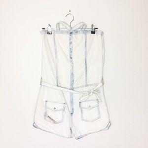 DIESEL 70s inspired halter denim shorts onesie